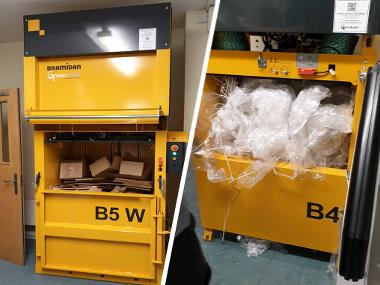 Baler B5 Wide for cardboard and B4 for plastic waste